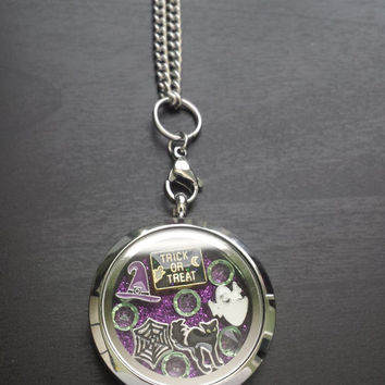 Halloween Floating Charm Locket Necklace-Includes Locket, Charms, Window Insert, & Chain-Gift Idea