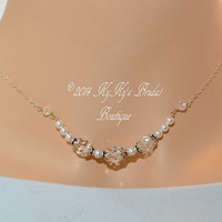 Sterling Silver Bridal Necklace, Bridal Jewelry, Wedding Jewelry, Wedding Shower Gift, Crystal Necklace