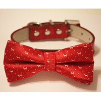 Red Dog Bow Tie -Dog Bow tie with high quality Red leather, Chic and Elegent, Valentine gift, Christmas gift