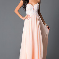 Beaded Corset Strapless Sweetheart Peach Long Prom Dress
