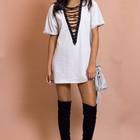 Lexi Lace Up Oversize T-shirt - Taupe