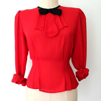 80s Bow Blouse / Red & Black Blouse / Bow-tie Blouse / Ascot Blouse