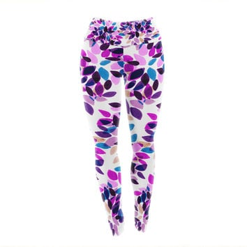 "Ebi Emporium ""Dahlia Dots 3"" Pink Purple Yoga Leggings"
