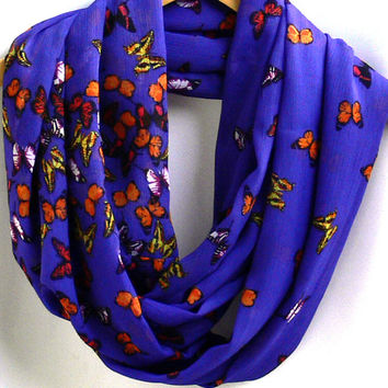 Butterflies Infinity Scarf. Circle Scarf. Women Accessories. Loop Scarf, Tube Scarf