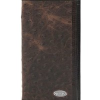 Nocona Dark Brown Ostrich Print Checkbook / Rodeo Wallet
