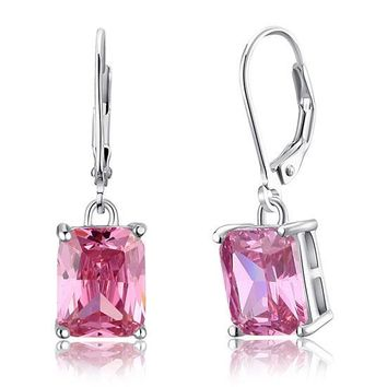 4 Carat Pink Simulated Sapphire 925 Sterling Silver Dangle Earrings