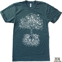 Mens ROOTS TREE TShirt american apparel S M L XL 17 by ZenThreads