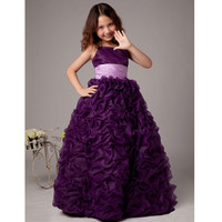 2016 New Purple Flower Girl Dresses Organza Prom Dresses Children Elegant Dresses For Girls