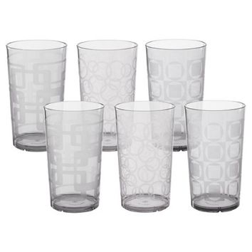 CreativeWare 24oz Acrylic Etched Tumblers, Clear - Set of 6