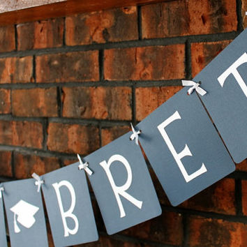 Custom Graduation Banner - Navy Blue / Congrats Grad / Custom Name / Graduation 2014 / High School / College / Party Decor / Garland / Sign