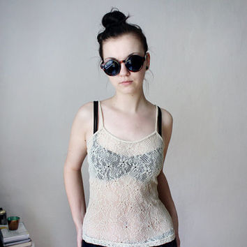 Sheer Floral Lace Lingerie Top - 90s Vintage See Through Nude Beige Tank Tee 1990s Boho Gypsy Nude Flower Lace Top