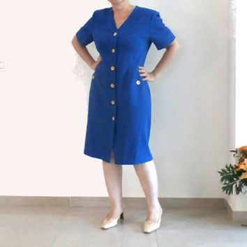 Blue Button Down Short Sleeve, Straight Dress, Summer, Haute Couture Dress, WEINBERG Paris, size 10, Made in France, French Fashion
