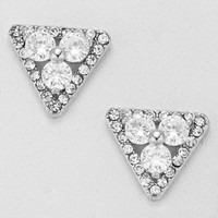 Cubic Zirconia Floral Triangle Earrings Silver