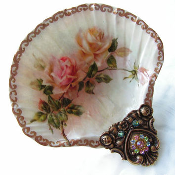 Vintage Roses Small Shell Jewelry Dish