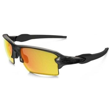 Oakley Flak 2.0 XL Matte Gray Smoke Fire Iridium Polarized Sunglasses OO9188-10