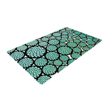 "Pom Graphic Design ""Blooming Trees"" Turquoise Circles Woven Area Rug"