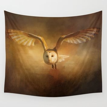 Night Raptor - Barn Owl Wall Tapestry by Theresa Campbell D'August Art
