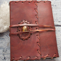 Handmade Leather and Tigers Eye Bound Journal