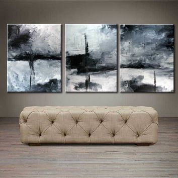 """'Moonlight by the bridge'  - 48"""" X 20"""" Original Abstract  Art. Free-shipping within USA & 30 day return Policy."""