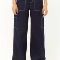 Contrast-Stitched Wide-Leg Pants