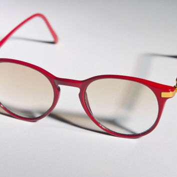 Vtg Semi Clear UV Ray Glasses Clubmaster Red Gold Bans by Awake87