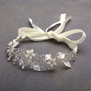 Silver Bridal Headband with Hand Painted Silver Leaves