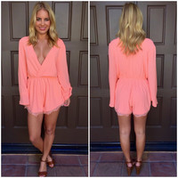 Feel the Love Romper - Neon Coral