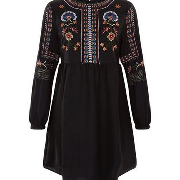 Black Embroidered Long Sleeve Smock Dress