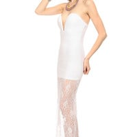 White Plunging Lace Body Con Maxi Dress