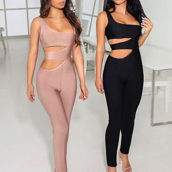 Feminist Cut Out Sides Bandage Jumpsuit
