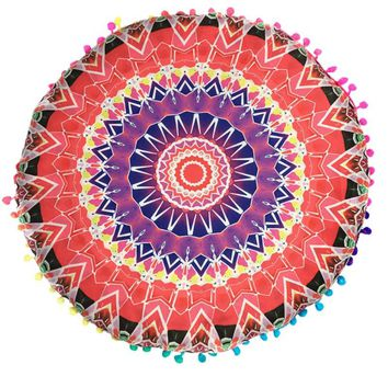 43*43CM Colorful Round Indian Mandala Floor Printed Pillows Cushions Pillows Case Textile Bohemian Pillow
