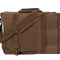 Rothco Canvas/Leather Pathfinder Laptop Bag, E. BROWN Size