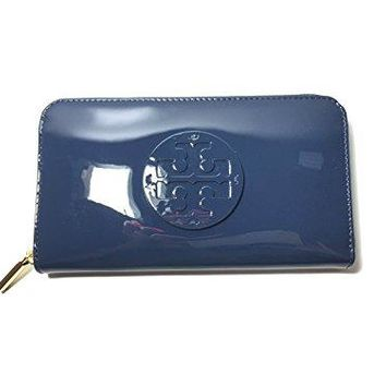 Tory Burch Stacked Patent Zip Around Continental Wallet In Hudson Bay