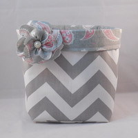 Lovely Gray and White Chevron Fabric Basket With Pink and Gray Paisley Liner And Detachable Fabric Flower For Storage Or Gift Giving