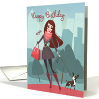 Cartoon Woman Walking her Dog in City Park for Happy Birthday card