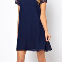 Blue Short Lace Sleeve Chiffon Dress