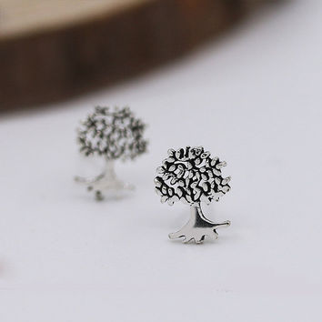 Wishing Tree Stud Earrings, Sterling Silver Tree Earrings,leaf earrings,leaf stud earrings,gift for her,Leaf jewelry,tree jewelry