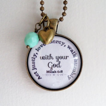 Act Justly, Love Mercy, Walk Humbly Pendant - Micah 6:8 Necklace - Inspirational - Christian Jewelry -  Scripture Pendant - Bible Verse