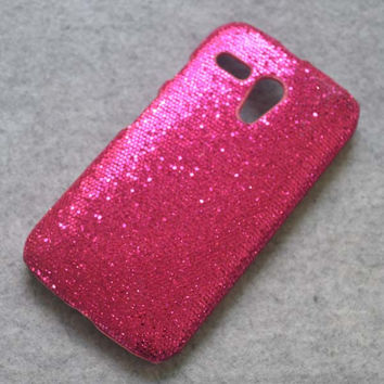 For Motorola Moto G New Hot Pink Bling Sparkle Glitter design hard case cover
