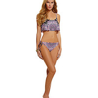 Kenneth Cole Reaction Medallion Floral Flounce Crop Bra Top & Hipster Bottom | Dillards.com