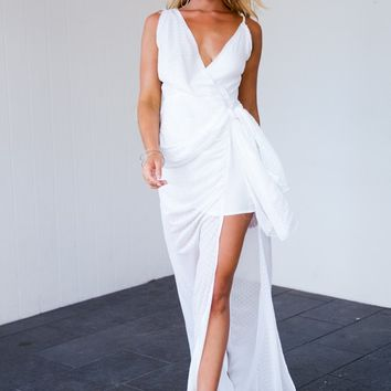 Midnight Ocean Maxi Dress (White)