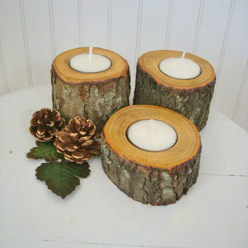 Handmade Wooden Candle Holders / Set of Three / Rustic Wood Candle Holder / Tea Lights