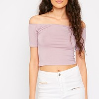 Marley Mauve Bardot Jersey Crop Top - Tops - PrettylittleThing | PrettyLittleThing.com