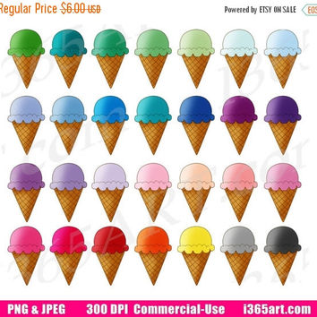 50% OFF SALE Ice Cream Cone Clipart, Ice Cream Clip Art, Cute Ice Cream, Summer frozen Treats, Planner Sticker Graphics, PNG, Commercial