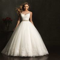 Custom Made lace Wedding Dresses 2017 High Quality Beading ball gown white Appliques Soft Tulle vestido de noiva With Crystal
