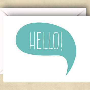 Hello! Card, 5.5 x 4.25 Inch (A2), Just Because Card, Colorful Hello, Cards for Friends, Hey, Hi, Hello There, Many Color Choices Available