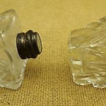 Crystal Salt and Pepper Shakers with Sterling Silver Top