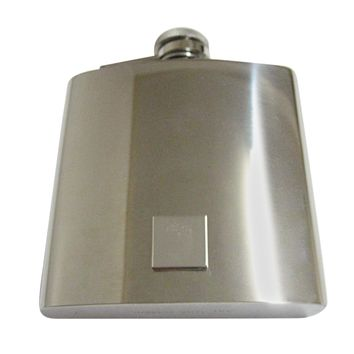 Silver Toned Etched Square Acorn Pendant 6 Oz. Stainless Steel Flask