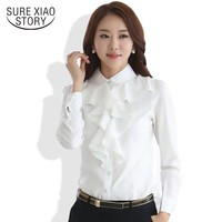 2015  New Arrival Chiffon Long Sleeve Shirt  Korean Style Fashion Ruffles Ladies White Black Office Blouses Women Clothes 8C81