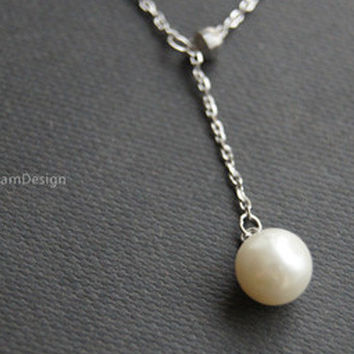 Necklace--925 Sterling Silver pearl necklace,delicate pearl necklace